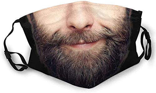 vipsung Model Face Half Face Cover Face Cover Wristband Mouth Cover Funny Face Cover Reusable-Man with Beard-One Size