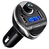 Criacr Transmetteur FM Bluetooth, Voiture Bluetooth Transmetteur FM, Kit Main Libre Voiture, Lecteur MP3 avec Micro, sans Fil Chargeur Voiture avec 2 USB Port 5V/2.1A et 1A, Appel Main Libre (Noir)