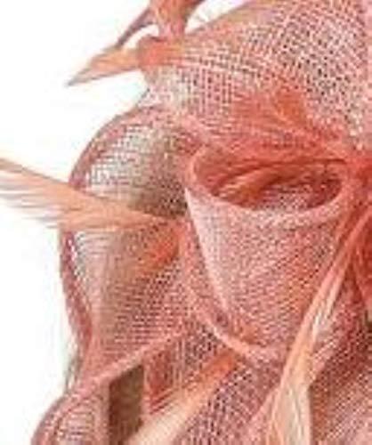 FHKGCD Sinamay Fascinators Diadema con Plumas para La Cabeza Mujeres Kentucky Ocasin Sombreros De Iglesia Tocado De Boda Nupcial, Melocotn,