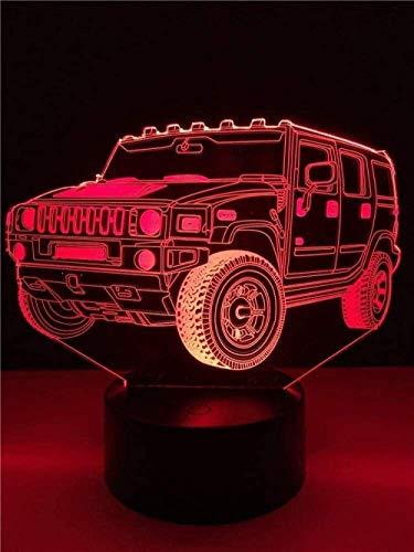 Raumdekor 3D Licht für Kinder Nachttischlampe für Jungen Jeep Schreibtisch für Kinder Kinder Weihnachtsspielzeug Neuheit Anime Wohnkultur Mit USB-Aufladung bunter Farbwechsel