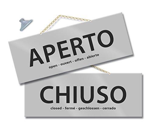 Maxi Cartello APERTO e CHIUSO per negozio vetrina studio laboratorio officina bottega (argento/argento)