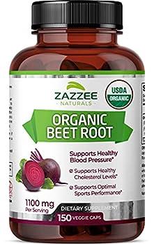 Zazzee USDA Organic Beet Root 150 Vegan Capsules 1100 mg per Serving USDA Certified Organic 100% Pure Beta Vulgaris Organically Stabilized Vegan All-Natural and Non-GMO