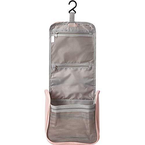 Makeup Bag Bolsa Aseo para Colgar Tela con Gancho Resistente Bolsa Almacenamiento Gran Capacidad Organizador Resistente Al Agua para Neceser Viaje Estuche Cosmético Malla Portátil (Rosa, Gris)