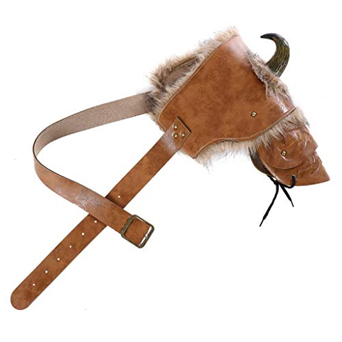 CosplayDiy Unisex Adult Medieval Warrior Armour Cosplay LARP PU Leather Brown Fur Viking Shoulder Armor with Horn (Right Shoulder Armor)