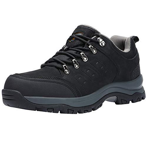 CAMEL CROWN Wanderschuhe Herren Outdoor Trekkingschuhe Wanderhalbschuhe Männer Sneakers rutschfest Hiking Schuhe Low Top Wanderstiefel-All Season (46 EU, Schwarz)