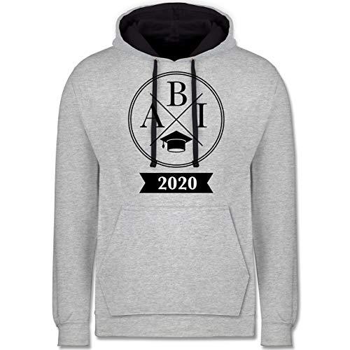 Shirtracer Abi & Abschluss - Abi 2020 Hipster X - L - Grau meliert/Navy Blau - Abitur - JH003 - Hoodie zweifarbig und Kapuzenpullover für Herren und Damen