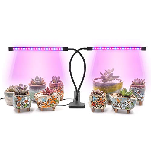 AMAZINGCATS [2018 Upgraded] 18W Dual Head Timing Grow Light, Growing Lamp, 36 LED Chips with Red/Blue Spectrum for Indoor Plants, Adjustable Gooseneck, 3/6/12H Timer, 5 Dimmable Levels