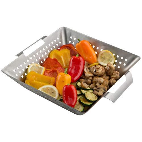 Meateor Grill-Korb aus massivem Edelstahl, geeignet für Holzkohlegrill, Gasgrill, Elektrogrill und Backofen, für kleines Grillgut oder Gemüse, Maße: 34,5 x 28 x 7 cm (Maße: 34,5 x 28 x 7 cm)