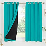 Deconovo 100% Blackout Curtain 54 Inches Long Total Light Block Full Dark Heat Cold Thermal Insulated Short Drapes for Small Window Nursery Kitchen Living Room Bedroom, Set of 2, Each 52x54 in, Teal