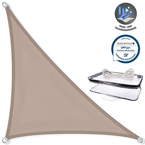 CelinaSun Sonnensegel PES Dreieck rechtwinklig 5x5x7,1m Taupe UPF 50+ Sonnenschutz inkl Befestigungsseile