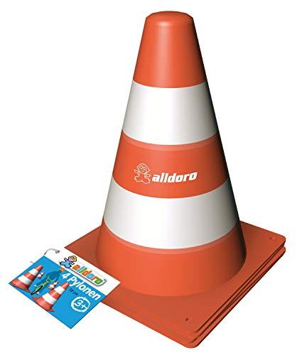 alldoro 60090, 4 Stück, orange-weiß, Warnkegel aus robustem Kunststoff, ca. 13 x 13 x 17 cm groß, stapelbar, ideal für Slalom, Parcours und Sport, Pylonen Set