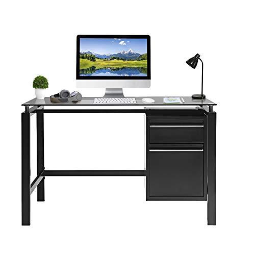"Pataku Home Office Desk Computer Desk 46"", Modern Study Writing Table with 2 Drawers, Tempered Glass Desktop, Metal Frame, Black"