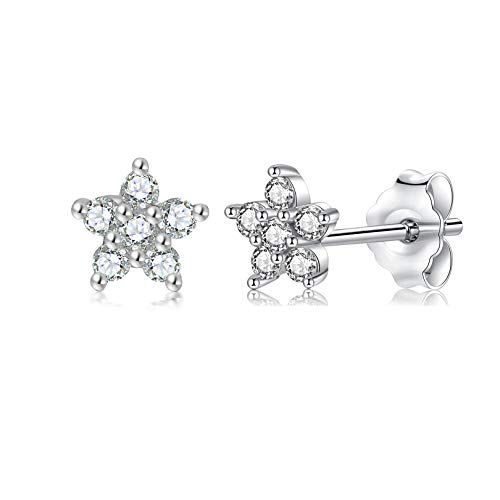 Sterling Silver Stud Earrings for Women, 1 Pairs Small Flower Cubic Zirocnia Studs Hypoallergenic Cartilage Stud Sleeper Earrings Set Piercing Jewellery for Girls, Men 5mm