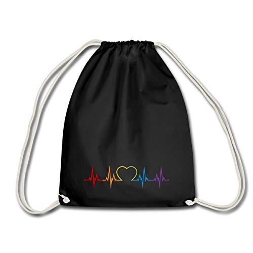 Spreadshirt LGBT Queere EKG Linie Mit Herz Gay Pride Turnbeutel, Schwarz