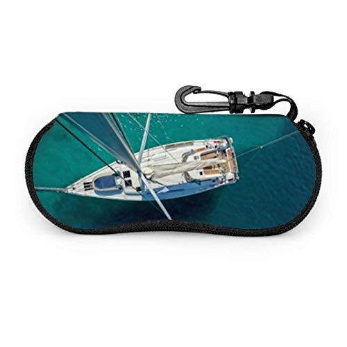 Brillenetui, Blickwinkel, Segelboot, Antenne, Sonnenbrille, weich, ultraleicht, Neopren, Reißverschluss, Brillenetui mit Karabiner, Sonnenbrillenetui für Herren