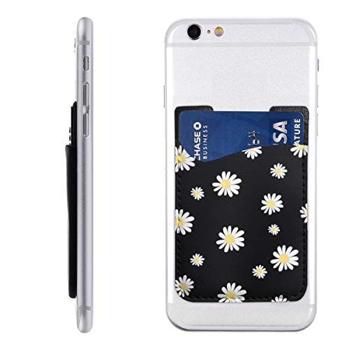 BCCYZ Daisy Yellow Flower Phone Card Holder, Stick-on ID Credit Card Wallet Phone Case Pouch Sleeve Pocket for iPhone, Android and All Smartphones