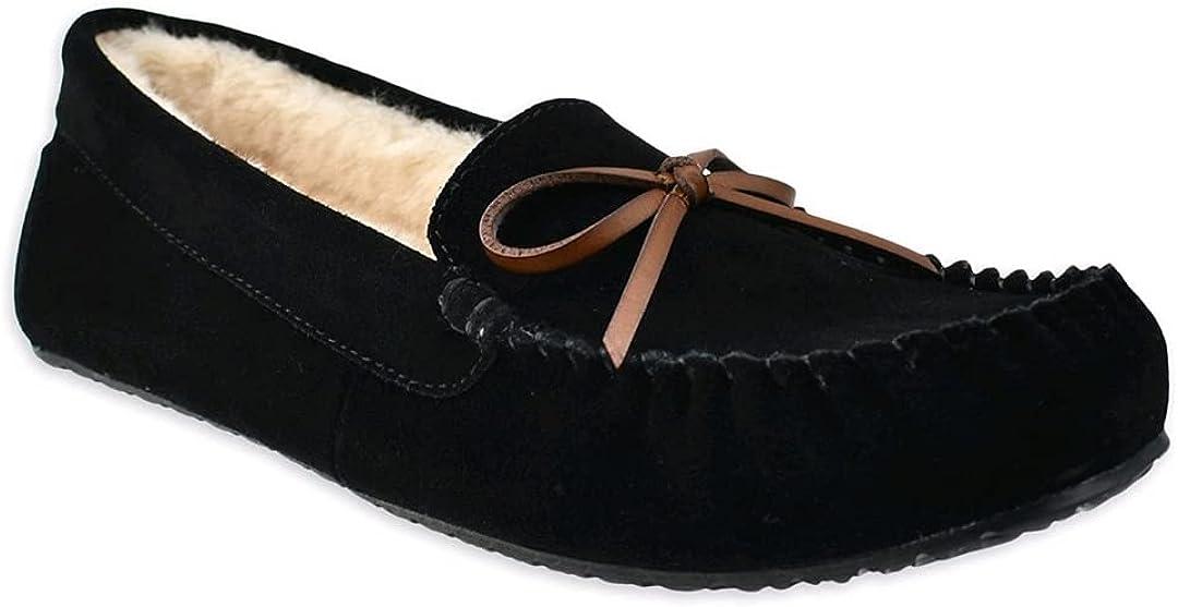Secret Treasures Black Suede Moccasin Slippers