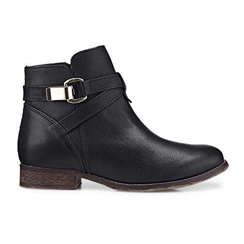 Cox Damen Trend-Bootie aus Leder, Stiefelette in Schwarz mit rutschhemmender Sohle Schwarz Leder 38