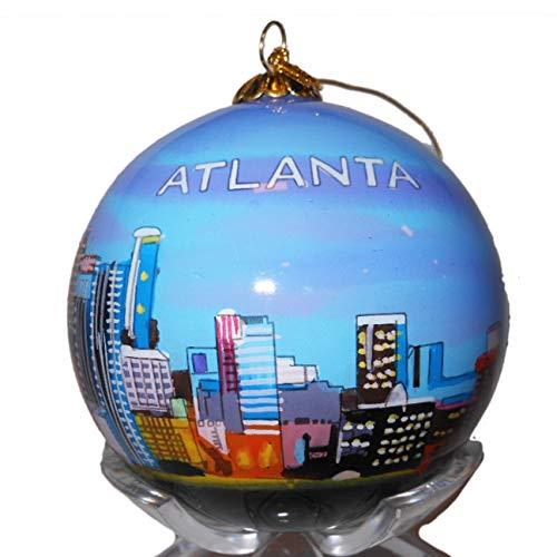 Art Studio Company Hand Painted Glass Christmas Ornament - Atlanta, Georgia Skyline