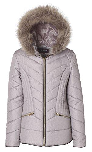 Sportoli Junior Women's Down Alternative Promo Puffer Jacket with Fur Trimmed Hood - Millstone (X-Small)