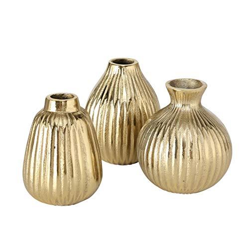 Juego de 3 jarrones decorativos (metal, aluminio, 12 x 10 cm), color dorado