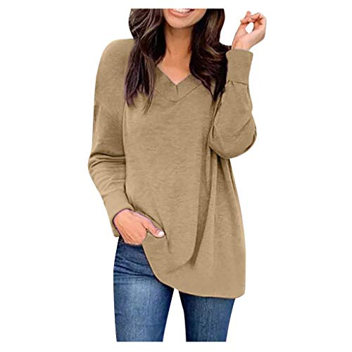 Women's Winter Spring Casual Daily Blouse Fashion Long Sleeve V-Neck Solid Color T-Shirts Top