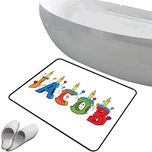 Non-Slip Bathroom Rug Jacob Soft Skidproof Bath Mat Safe Area Cartoon Colorful Festive Letters Spelling Male Name Surprise Birthday Party Kids,Multicolor Doormat Bedroom Living Room Kitchen Decoration