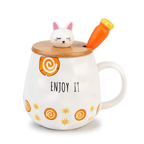 TopGearWorld Kaffee Wasser Milch Tee Tasse Becher Schale mit Löffel und Holzdeckel Kaninchen Form Mug für Getränke Fruchtsaft Geschenk Büro Frühstück 450ml