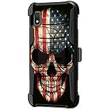 TurtleArmor Schutzhülle für Samsung Galaxy A10e (stoßfest), Hybrid-Schutzhülle mit Gürtelclip & Ständerfunktion, US Flag Skull