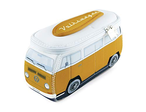 BRISA VW Collection - Volkswagen T2 Bulli Universal-Schmink-Kosmetik-Kultur-Reise-Hausrats-Tasche-Mäppchen-Beutel im 3D-Design aus Neopren (Neopren/Orange)