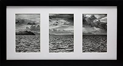 8x16 Collage Black Gallery Picture Frame with Three 4x6 Inch Openings - Wide Molding - Includes Both Attached Hanging Hardware and Desktop Easel - Display Three 4 x 6 Photos Horizontal or Vertical