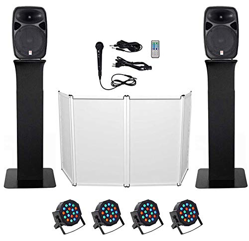 New DJ Package w/Dual 15 Bluetooth Speakers+Mic+Tripod+Totem Stands+Facade+Lights