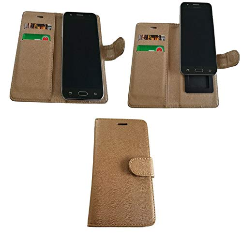Supercase24 für Alcatel One Touch Idol 3C Flip Hülle Bookstyle Klapp Etui Hülle Handy Tasche Bookcase Cover Schutzhülle in Gold