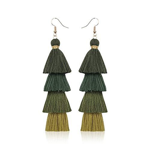 feilai Pendientes de borla de moda bohemia, multicolor, varios colores, pendientes largos con borla retro para mujer (color metálico: E68123 verde oscuro)
