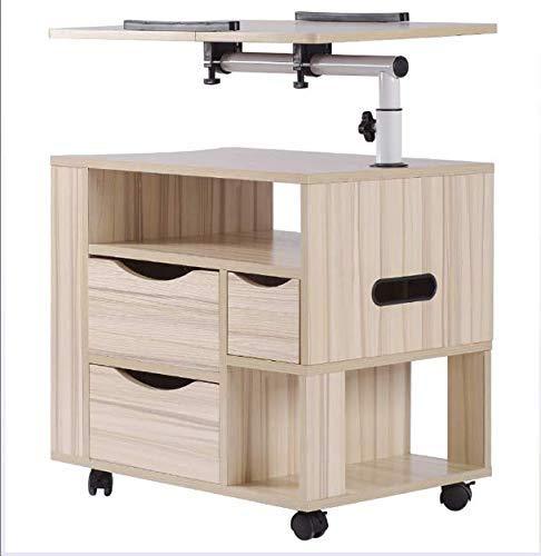 YINGGEXU Mesita de noche giratoria ajustable de madera con cajones, ruedas y estante abierto para portátil