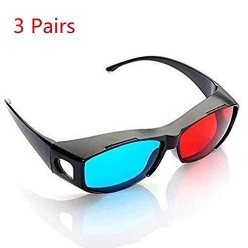 DIVISTAR Occhiali 3D Blu e Rosso Ciano anaglifo, Stile Semplice, Occhiali 3D Extra Stile per Occhiali da Vista per Film e Giochi