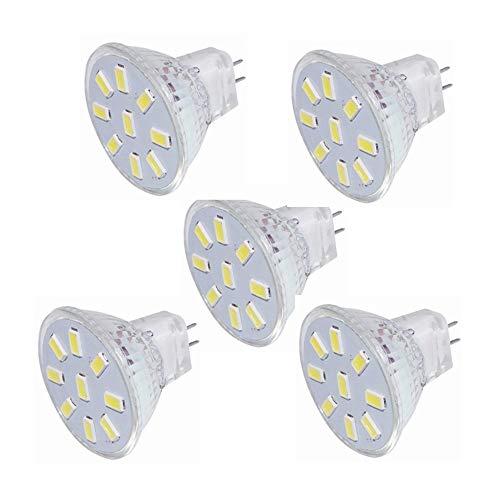 Liyuzhu GU4 Bi-Pin Sockel 3 W LED MR11 Leuchtmittel, 12 V 24 V 20 W Halogen Ersatz, 9 LED 5730, AC/DC 9-30 V (5 Stück) warmweiß