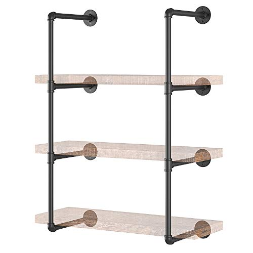 Yuanshikj 2Pc (42' tall ) (12'deep ) Industrial Wall Mount iron Pipe Shelf Shelves Shelving Bracket Vintage Retro Black DIY Open Bookshelf DIY Storage offcie room Kitchen (2 Pcs 4Tier Hardware Only )