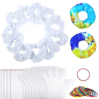 20 Pieces Cotton White Hair Scrunchies Tie Dye Fabric Hair Bands Accessories with Tie Dye Tool Kits Including 50 Rubber Bands, 5 Pairs Plastic Gloves and 4 Plastic Sealed Bags for Women Girls