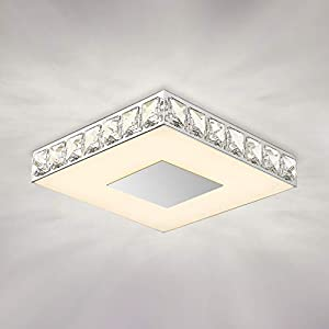 "Crystal Flush Mount Ceiling Light, GALTLAP Modern LED Lighting Close to Ceiling Light Fixtures, 10.6"" Square Glass Ceiling Lamp 3000K Contemporary Crystal Chandelier for Living Room Kitchen Bedroom"
