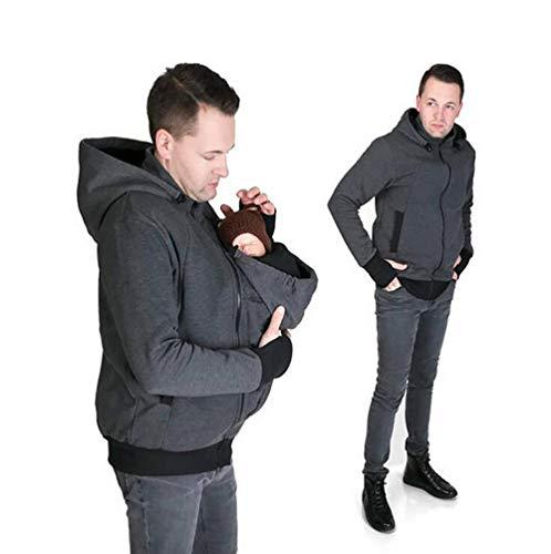 SHANGLY Hombres Canguro Chaqueta del Portador De Bebé Invierno Moda 2 En 1 Multifunción Embarazada Mujer Capa Invierno Sudadera,L