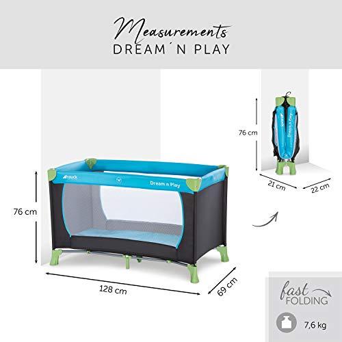 Hauck Kinderreisebett Dream N Play / inklusive Einlageboden und Tasche / 120 x 60cm / ab Geburt / tragbar und faltbar, Wasser (Blau) - 2