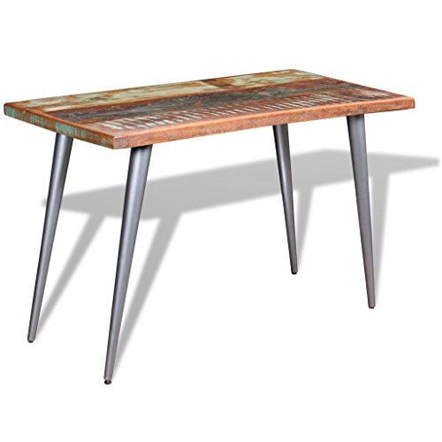 SHENGFENG Multi-coloured Dining Table, Garden Table, Kitchen Table, Outdoor Table, Solid Acacia Wood + Steel Legs 120 x 60 x 76 cm