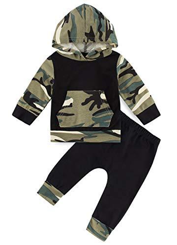 Neugeborene Baby Cool Camouflage Print Grafik Hoodie Outfit Set Kinder Jungen Langarm Tops Pullover Lange Hosen mit Taschen Casual School Sport Weihnachten Halloween Sweatsuit, 0-6 Monate Jungen