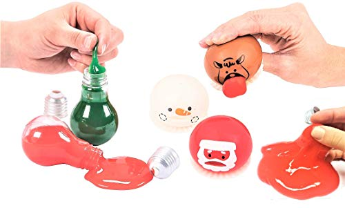 Christmas Holidays Vomiting Slime Squishy Barf Toys for Kids Assortment - 5pcs Set - Goop Sucker Party Favors, Stocking Stuffers, Children Novelties, Winter Novelty Prizes for Classroom Xmas Bundle