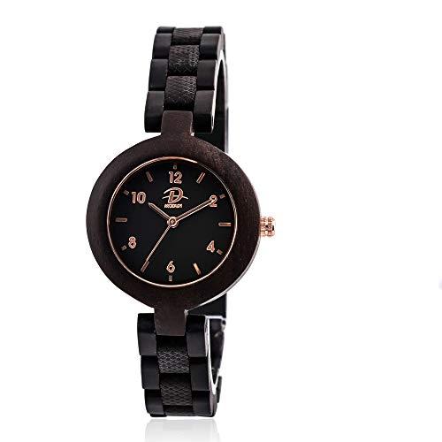 Wooden Watch Women, 100% Handmade Super Light Quartz Wood Watch for Girls, Adjustable Bracelet Band Natural Ebony Wooden Wrist Watch with Gift Box (Ebony Wood)