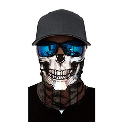 JK Home 3D Face Sun Mask Neck Gaiter Headwear Magic Scarf Balaclava Bandana Stirnband Angeln Jagd Hofarbeit Laufen Motorrad UV Schutz Herren Damen Weiß
