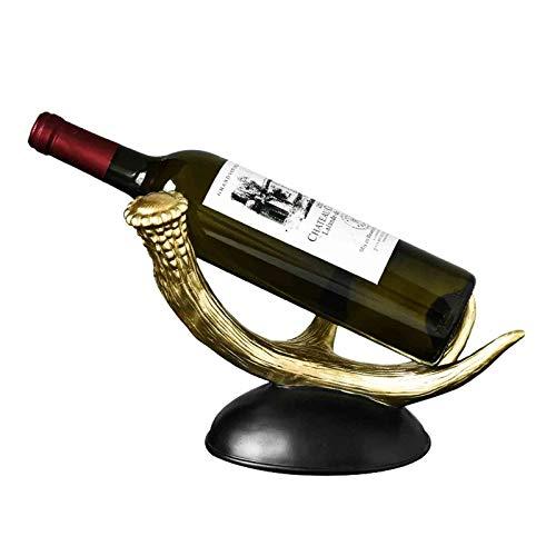 VOAOV Botellero Vino De Resina De Asta Retro, Diseño Único, Estantería De Vino, Soporte De Botella Ligero Y Estable, para Sala De Estar, Restaurante Y Bar, Regalos Coleccionables