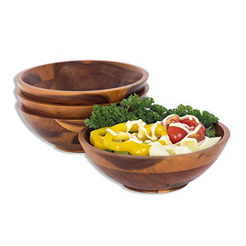 Wooden Bowl for Individual Meal - Pack of 4 Serving...