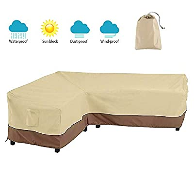 BullStar Patio Sectional Furniture Cover 420D Waterproof Outdoor Sofa Cover L-Shaped Garden Couch Protector, Left/Right